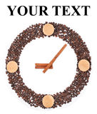 Clock from coffee beans Royalty Free Stock Photos
