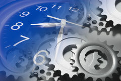 Clock and Cog Wheels Royalty Free Stock Photography