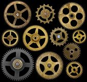 Clock Cogs Isolated On Black Royalty Free Stock Photography