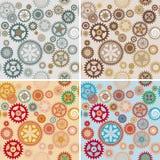 Clock cogwheel pattern set. Clock's cog-wheel seamless pattern set vector illustration