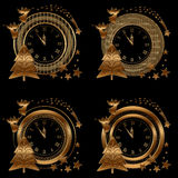 Clock , Collection gold Royalty Free Stock Images