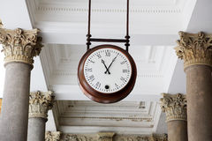 Clock in a colonnade, Karlovy Vary Royalty Free Stock Images