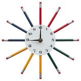 Clock with color pencils. Funny clock with color pencils stock illustration