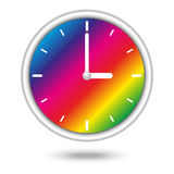Clock with color spectrum. Nice clock icon with beautiful rainbow pattern Stock Illustration