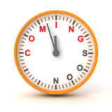 Clock with coming soon text, 3d render Stock Photos