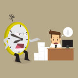 Clock complain businessman working time is limited. Vector Stock Photo