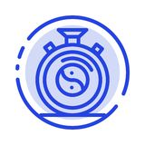 Clock, Concentration, Meditation, Practice Blue Dotted Line Line Icon royalty free illustration
