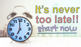 Clock concept It never too late to start. Alarm Clock concept It never too late to start Stock Image