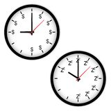 The Clock concept with time to work and sleep Stock Photo
