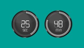 Clock Countdown, Clock Timer Second And Minute - Vector Illustrations - Isolated On Monochrome Background royalty free illustration