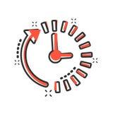 Clock countdown icon in comic style. Time chronometer vector cartoon illustration pictogram. Clock business concept splash effect.  stock illustration