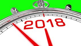 New Year 2018 Clock Green Screen. Clock countdown from year 2017 to 2018. Perfect for your own background, clean mask on green screen royalty free illustration