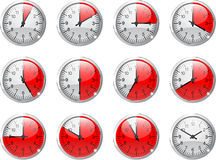 Clock counting. Set of 12 clocks counting every 5 minute Royalty Free Stock Photo