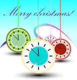 Clock cristmas background Stock Images