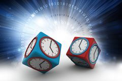 Clock in cube with technical brain. 3d illustration of Clock in cube with technical brain Royalty Free Stock Photography