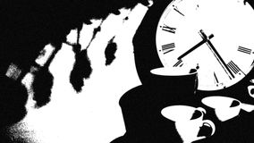 Clock and Cup Banner. Image black and white whit clock and cup Royalty Free Stock Images
