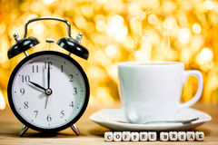 Clock. cup of fresh espresso with clock sign, Royalty Free Stock Photos