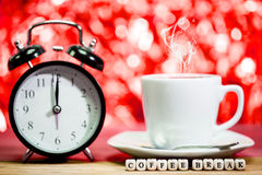 Clock. cup of fresh espresso with clock sign, Royalty Free Stock Image
