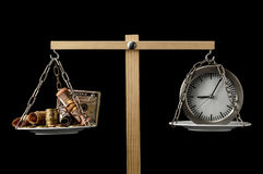 Clock and Currency Time is Money Concept Stock Images