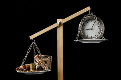 Clock and Currency Time is Money Concept Royalty Free Stock Photography