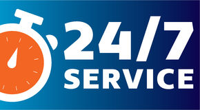 24/7 Clock Customer Service. Customer online clock service for companies logo Royalty Free Stock Images