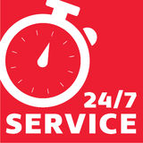 24/7 Clock Customer Service Royalty Free Stock Image
