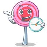 With clock cute lollipop character cartoon. Vector illustration Stock Photo