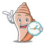 With clock cute shell character cartoon Stock Photos