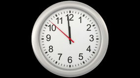 12:00. Clock. 3d animation with alpha matte stock video