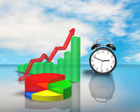 Clock with 3D chart on glass table Royalty Free Stock Image