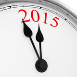 2015 on a clock. 3d illustration on white background stock illustration