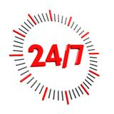 24 7 clock. 3d 24 7 clock isolated on white background Stock Photos