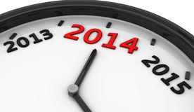 2014 in a clock in 3d Stock Photo