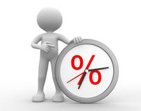 Clock. 3d people - man , person with a clock. Percent sign Stock Image