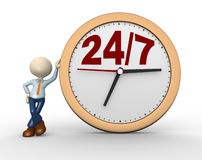 Clock. 3d people - man, person with a clock and text  24/7 Stock Images