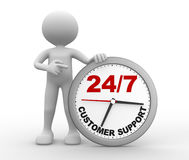 Clock. 3d people - man, person with a clock  and text  customer support 24/7 Royalty Free Stock Images