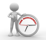 Clock. 3d people - man, person with a clock and text  time  time to management Royalty Free Stock Photo