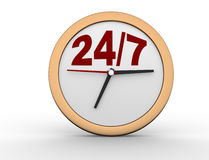 24/7 Clock. 3d render 24/7 Clock button Royalty Free Stock Photos