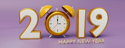 2019 and clock 3d rendering. Happy New year 2019 and clock 3d rendering Royalty Free Stock Image