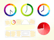 Clock design ideas. Set of bright coloured clock vector icons and kitchen schematic picture. O name, business chart, company isolated diagram collection Royalty Free Stock Photos