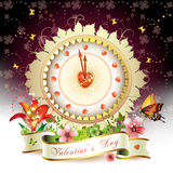Clock design with Valentine's day theme Stock Photography