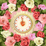 Clock Design With Roses Royalty Free Stock Photos