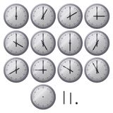 Clock dial. A modern clock dial. Twelve views are supplied with the main clock hand changing position at each hour Stock Photography