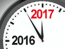 Clock dial 2016-2017. Black clock with 2016-2017 change represents coming new year 2017, three-dimensional rendering, 3D illustration Royalty Free Illustration