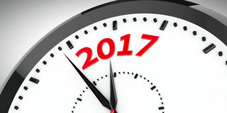 Clock dial 2017 2. Black clock with 2017 represents coming new year 2017, three-dimensional rendering, 3D illustration Vector Illustration