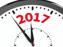 Clock dial 2017. Black clock with 2017 represents coming new year 2017, three-dimensional rendering, 3D illustration Vector Illustration