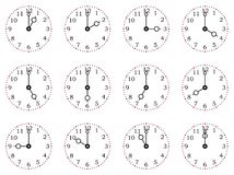 Clock or dial face with all twelve full times. On a isolated white background Stock Images