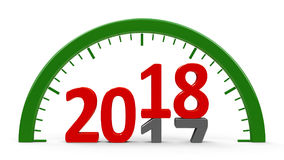 Clock dial 2018, half. Clock dial with 2017-2018 change represents the new 2018, three-dimensional rendering, 3D illustration Stock Images