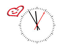 Clock Dial shows time 5 before 12. Clock, Digits sheet with hour hand, minute hand and a red second hand indicates the time 5 before 12. Copy space on white stock illustration