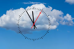 Clock dial shows the time 5 before 12 with sky and cloud backgro Royalty Free Stock Images